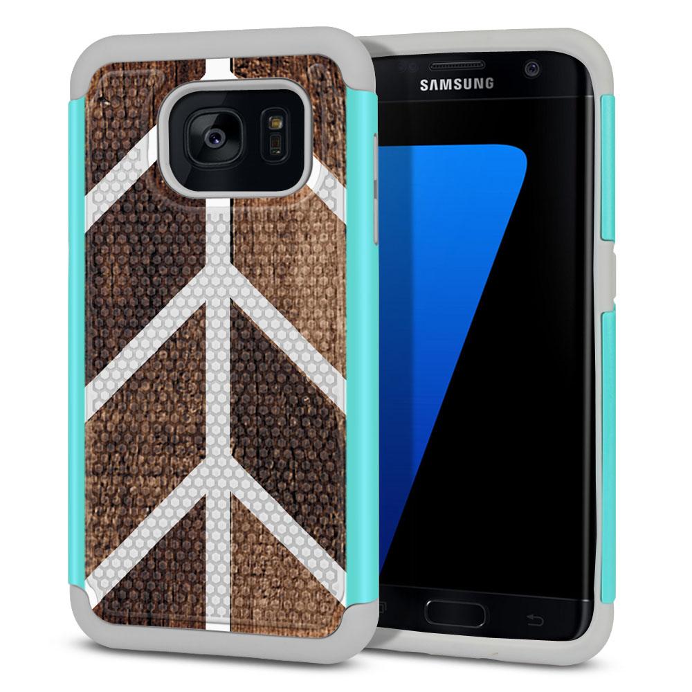 Samsung Galaxy S7 Edge G935 Hybrid Football Skin Wood Chevron Protector Cover Case