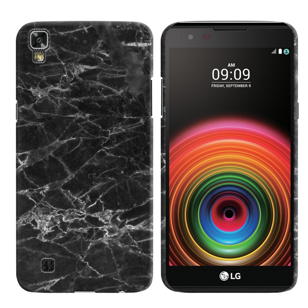 LG X Power K6 K6P-LG K450 K210 K220-LG US610-LG LS755 Black Stone Marble Back Cover Case