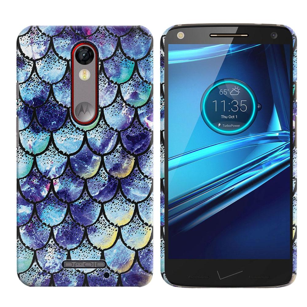 Motorola Droid Turbo 2 Kinzie XT1585-Motorola Moto X Force XT1580 Purple Mermaid Scales Back Cover Case