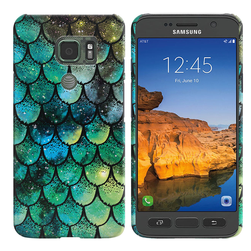 Samsung Galaxy S7 Active G891 Green Mermaid Scales Back Cover Case