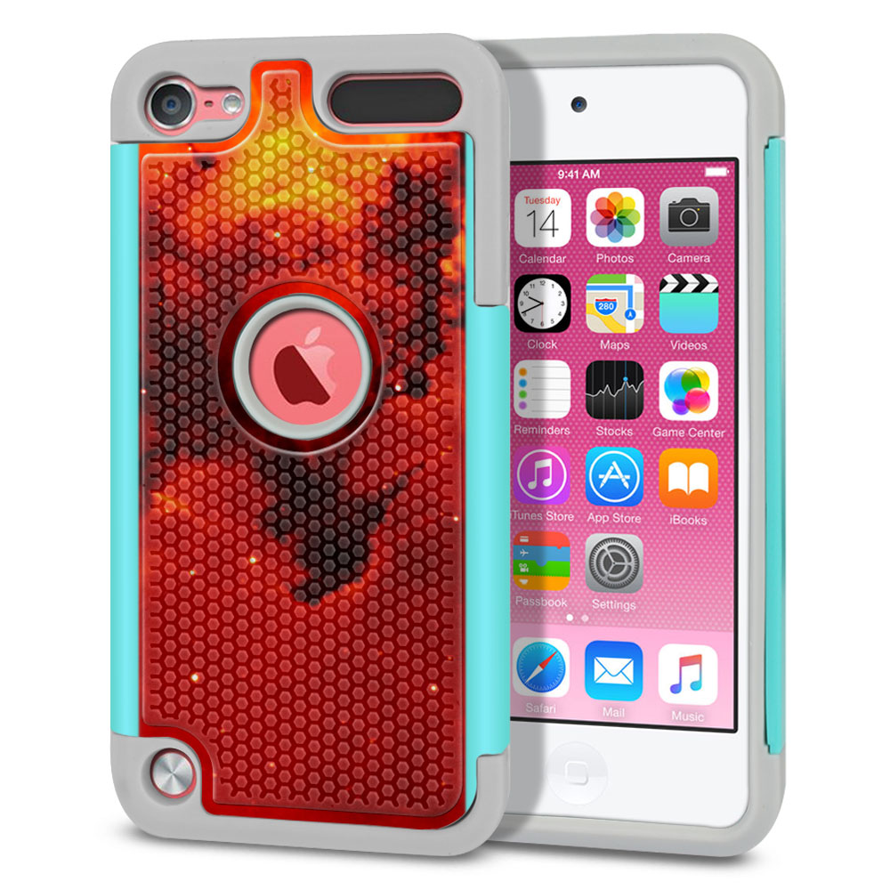Apple iPod Touch 5 (5th Generation)-Apple iPod Touch 6 (6th Generation) Hybrid Football Skin Fiery Galaxy Protector Cover Case