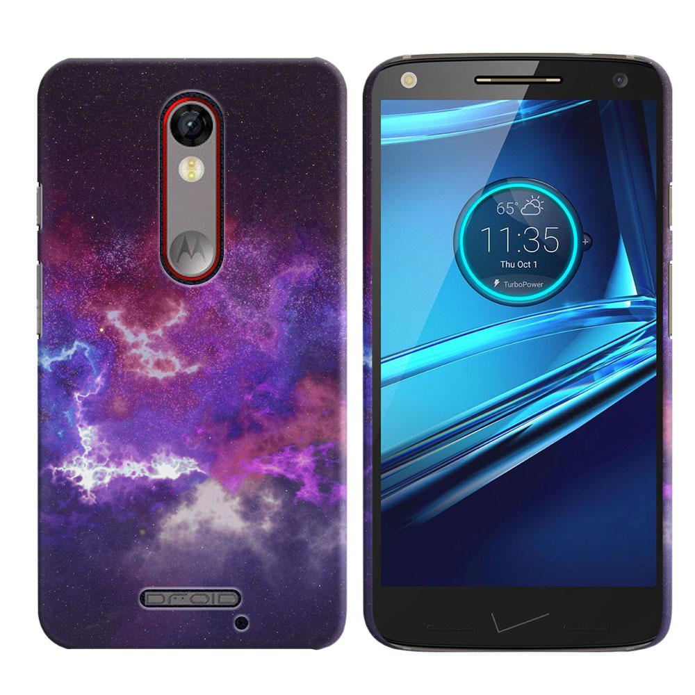 Motorola Droid Turbo 2 Kinzie XT1585-Motorola Moto X Force XT1580 Purple Nebula Space Back Cover Case