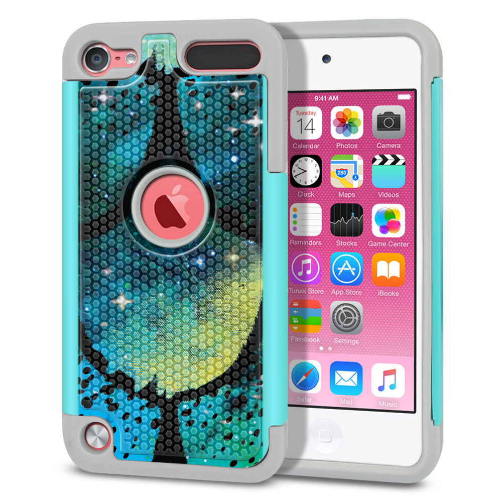 Apple iPod Touch 5 (5th Generation)-Apple iPod Touch 6 (6th Generation) Hybrid Football Skin Green Mermaid Scales Protector Cover Case