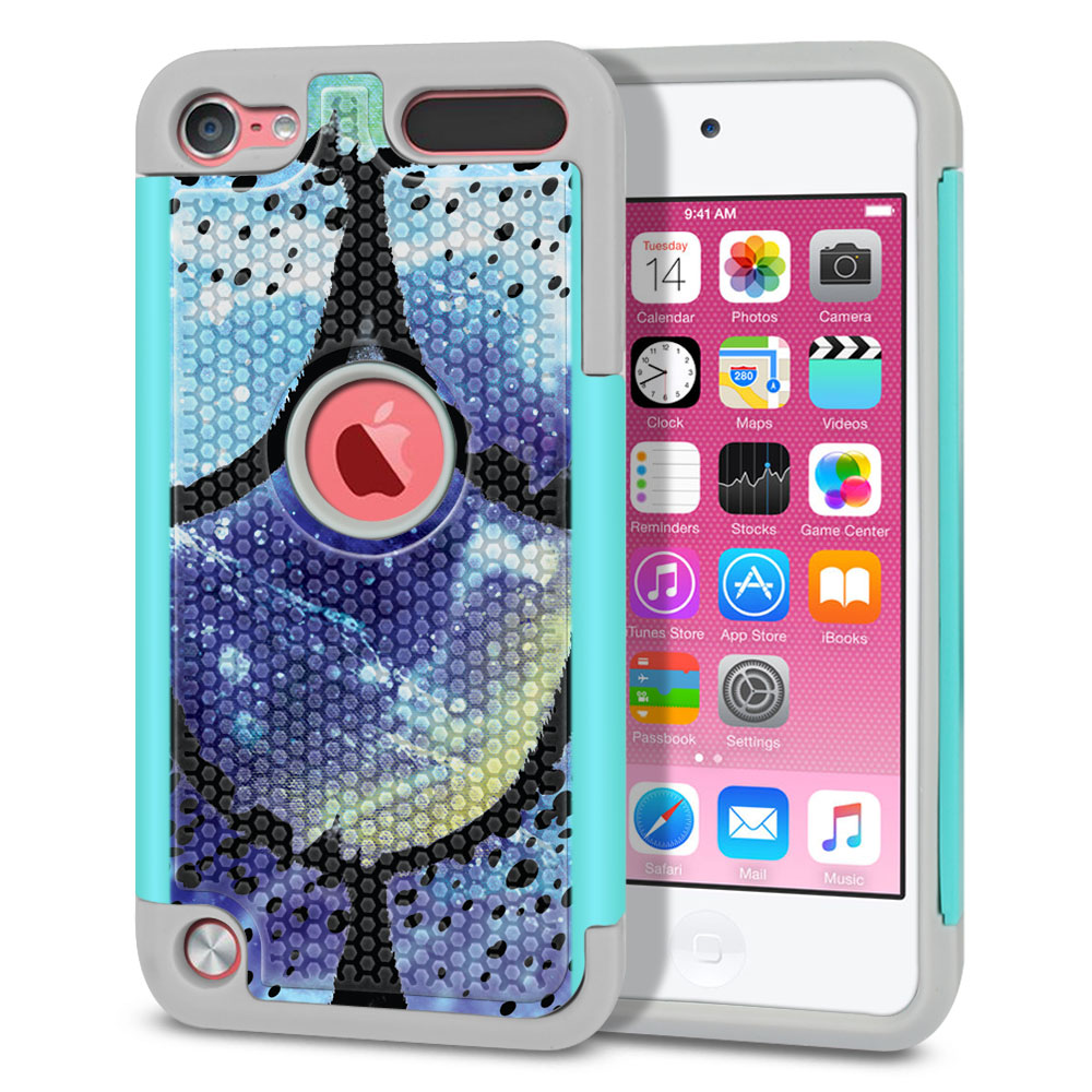Apple iPod Touch 5 (5th Generation)-Apple iPod Touch 6 (6th Generation) Hybrid Football Skin Purple Mermaid Scales Protector Cover Case