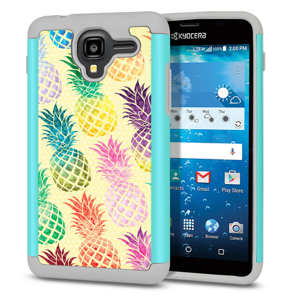 Kyocera Hydro View C6742-Kyocera Hydro Reach C6743-Kyocera Hydro Shore Hybrid Football Skin Pastel Colorful Pineapple Yellow Pastel Protector Cover Case