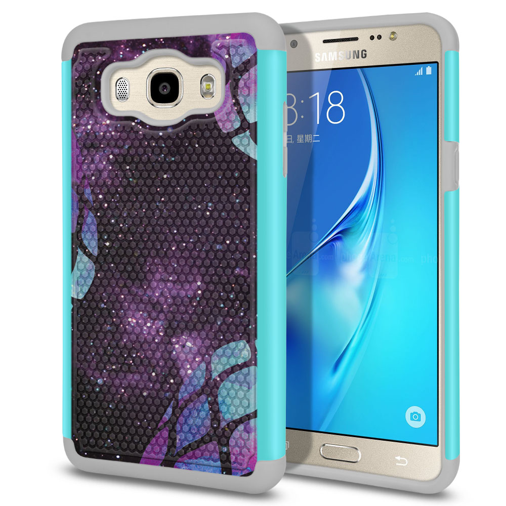 Samsung Galaxy J7 J710 2nd Gen 2016 Hybrid Football Skin Purple Pineapples Galaxy Protector Cover Case