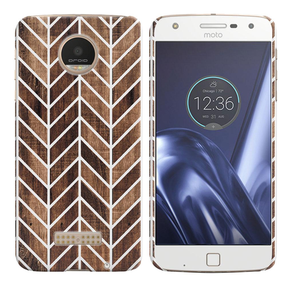 Motorola Moto Z Play Droid XT1635 Modern Chevron Wood Back Cover Case