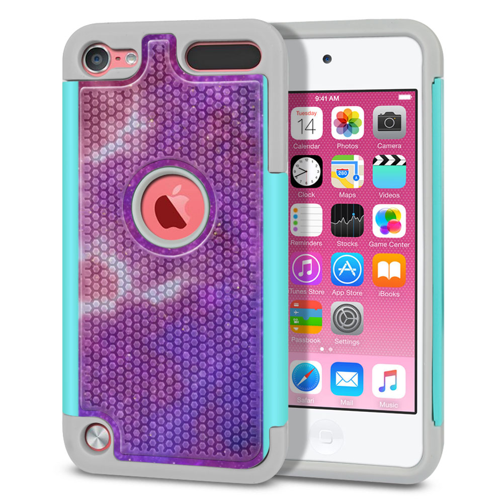 Apple iPod Touch 5 (5th Generation)-Apple iPod Touch 6 (6th Generation) Hybrid Football Skin Purple Nebula Space Protector Cover Case