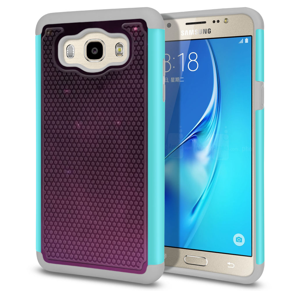 Samsung Galaxy J7 J710 2nd Gen 2016 Hybrid Football Skin Purple Space Stars Protector Cover Case