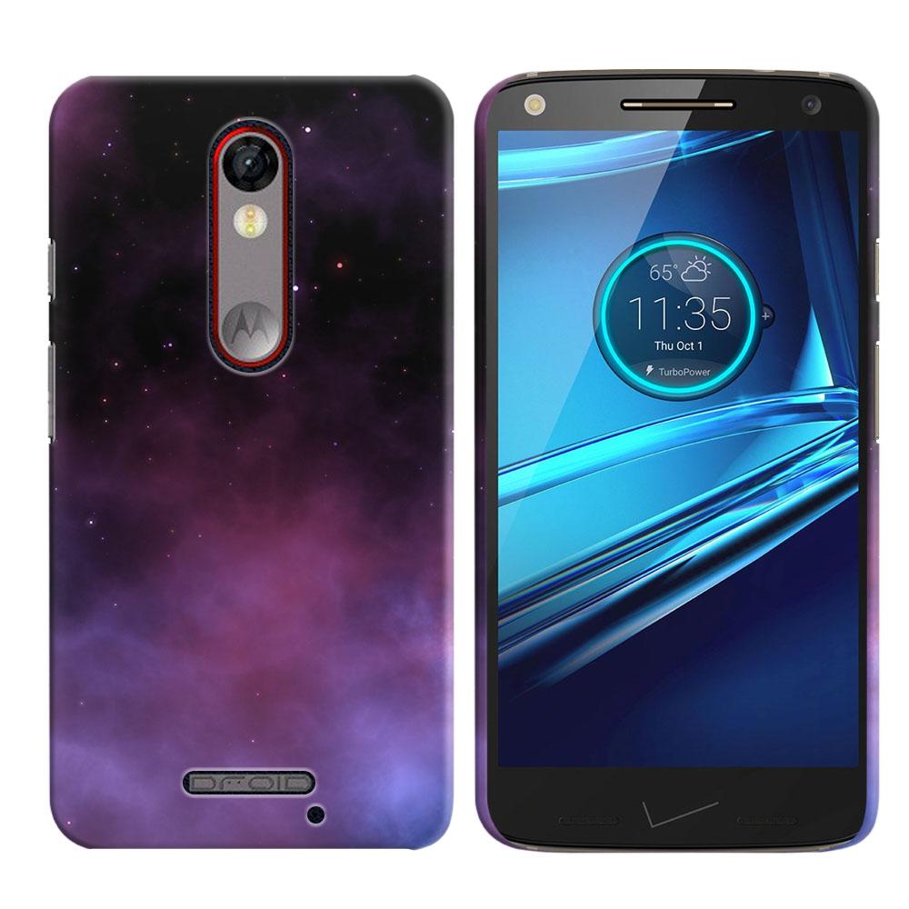 Motorola Droid Turbo 2 Kinzie XT1585-Motorola Moto X Force XT1580 Purple Space Stars Back Cover Case