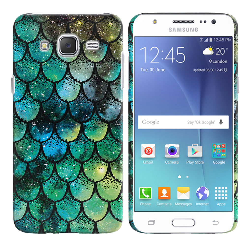 Samsung Galaxy J7 J700 Green Mermaid Scales Back Cover Case
