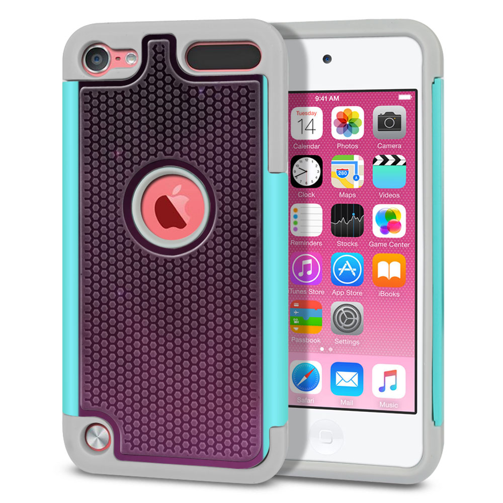 Apple iPod Touch 5 (5th Generation)-Apple iPod Touch 6 (6th Generation) Hybrid Football Skin Purple Space Stars Protector Cover Case