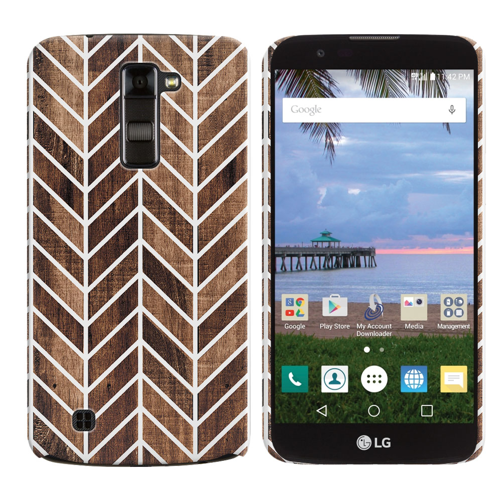 LG K10-LG Premier LTE L62VL L61AL K428 K430 K420 K420N Modern Chevron Wood Back Cover Case