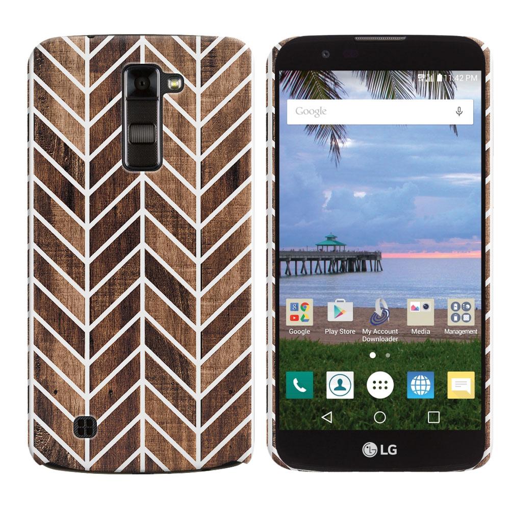 LG K10-LG Premier LTE L62VL L61AL K428 K430 K420 K420N Wood Chevron Back Cover Case
