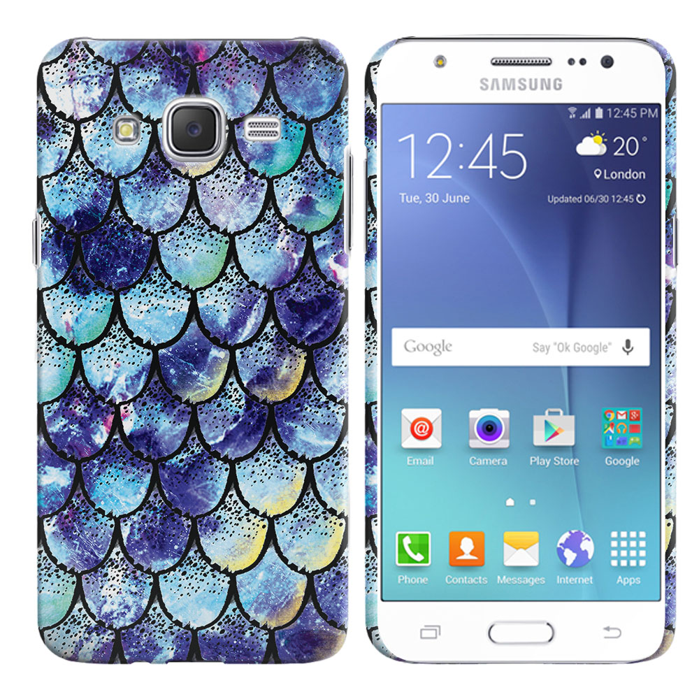 Samsung Galaxy J7 J700 Purple Mermaid Scales Back Cover Case