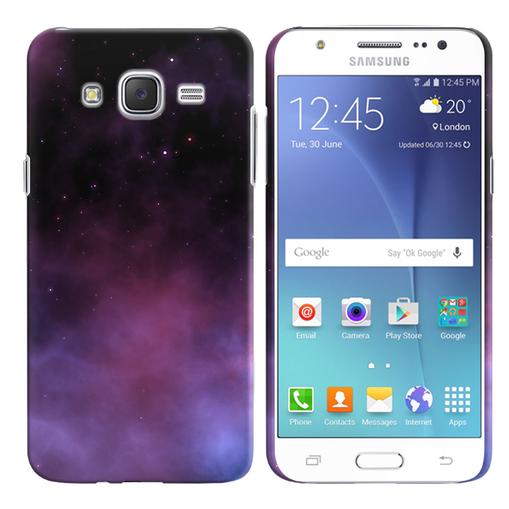 Samsung Galaxy J7 J700 Purple Space Stars Back Cover Case