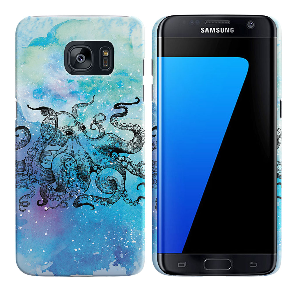 Samsung Galaxy S7 Edge G935 Blue Water Octopus Back Cover Case