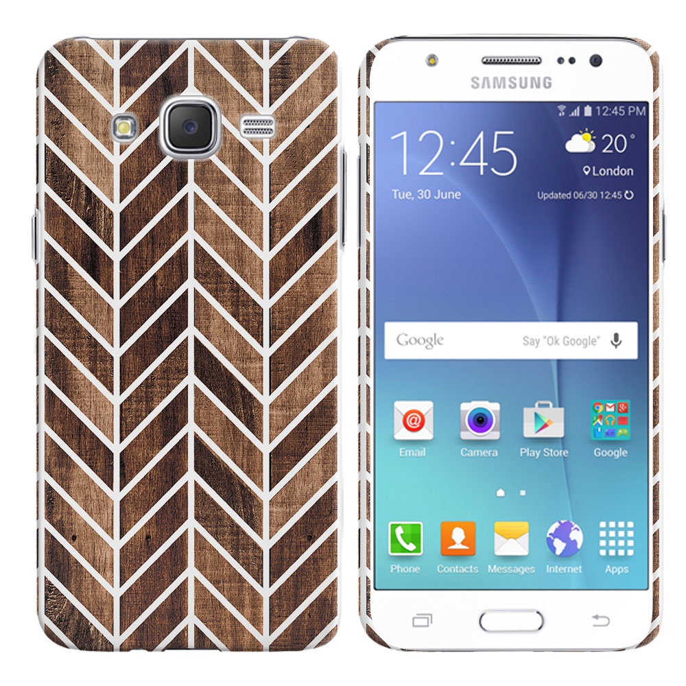 Samsung Galaxy J7 J700 Wood Chevron Back Cover Case