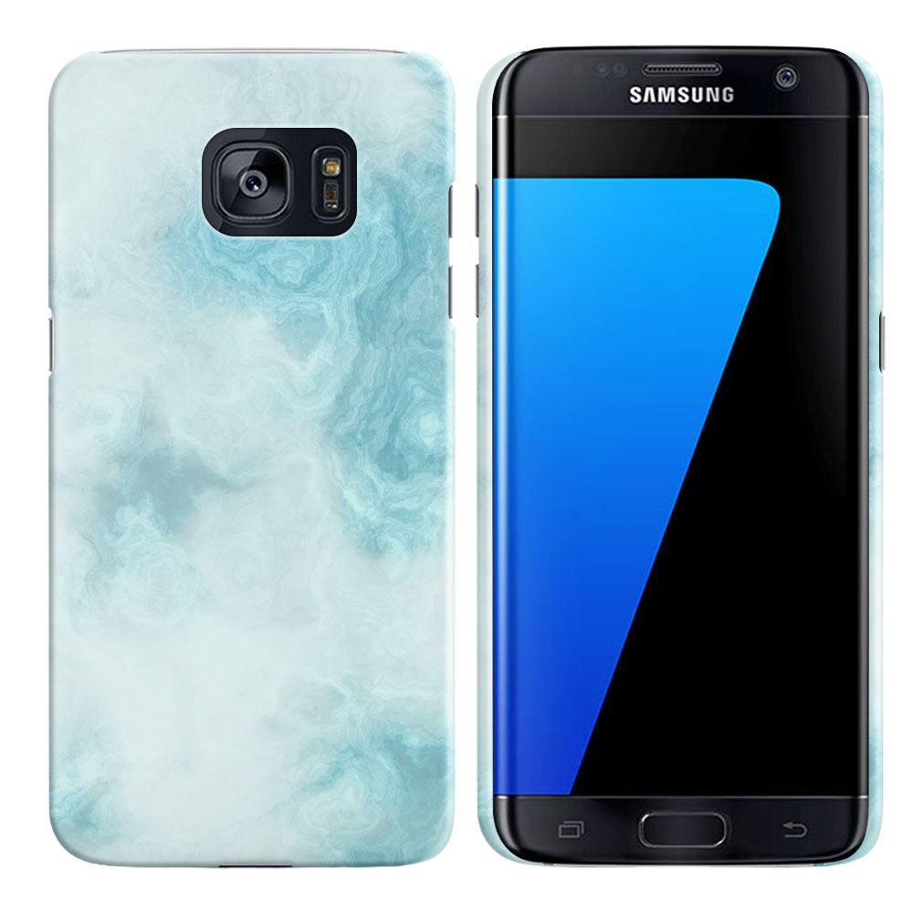 Samsung Galaxy S7 Edge G935 Blue Cloudy Marble Back Cover Case