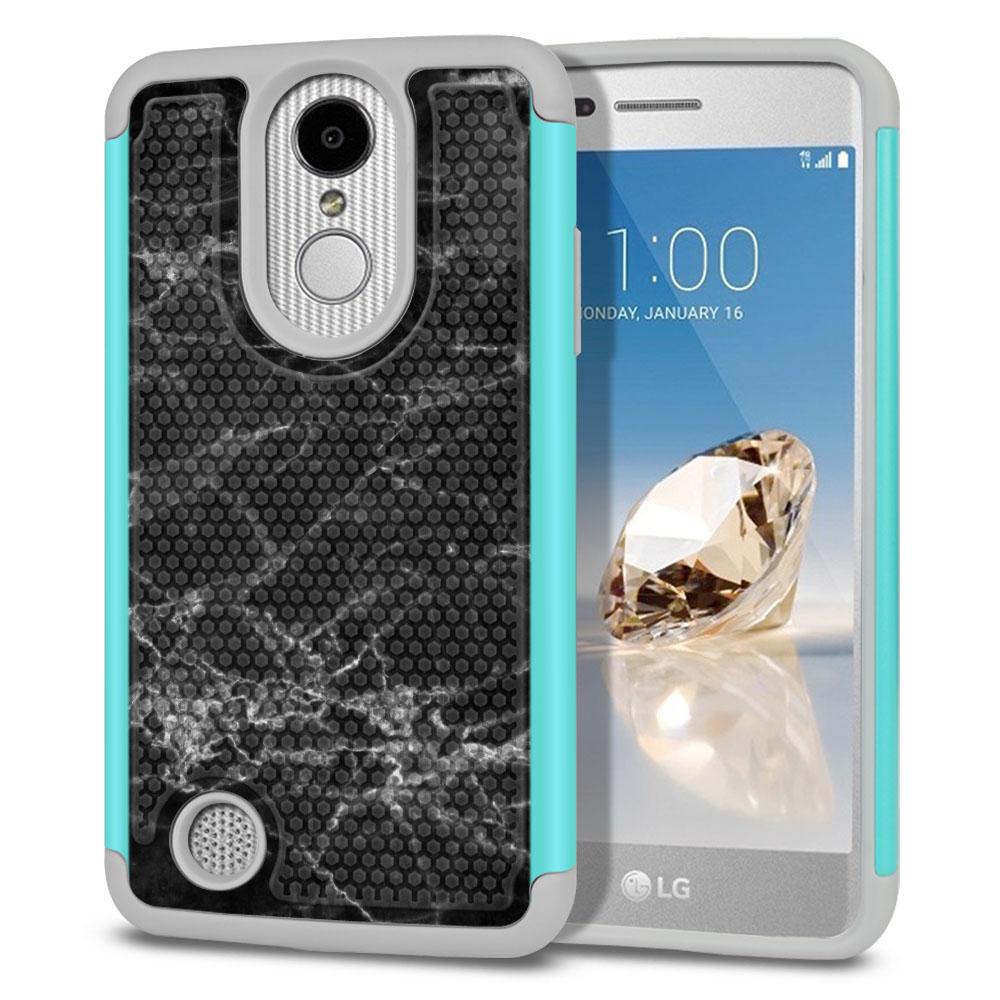 LG Aristo MS210 LV3-LG K8 (2017)-LG Phoenix 3 M150-LG Fortune Hybrid Football Skin Black Stone Marble Protector Cover Case