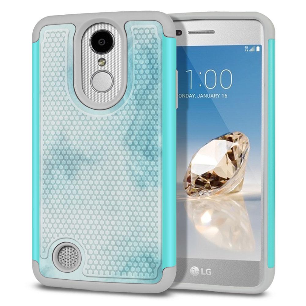 LG Aristo MS210 LV3-LG K8 (2017)-LG Phoenix 3 M150-LG Fortune Hybrid Football Skin Blue Cloudy Marble Protector Cover Case