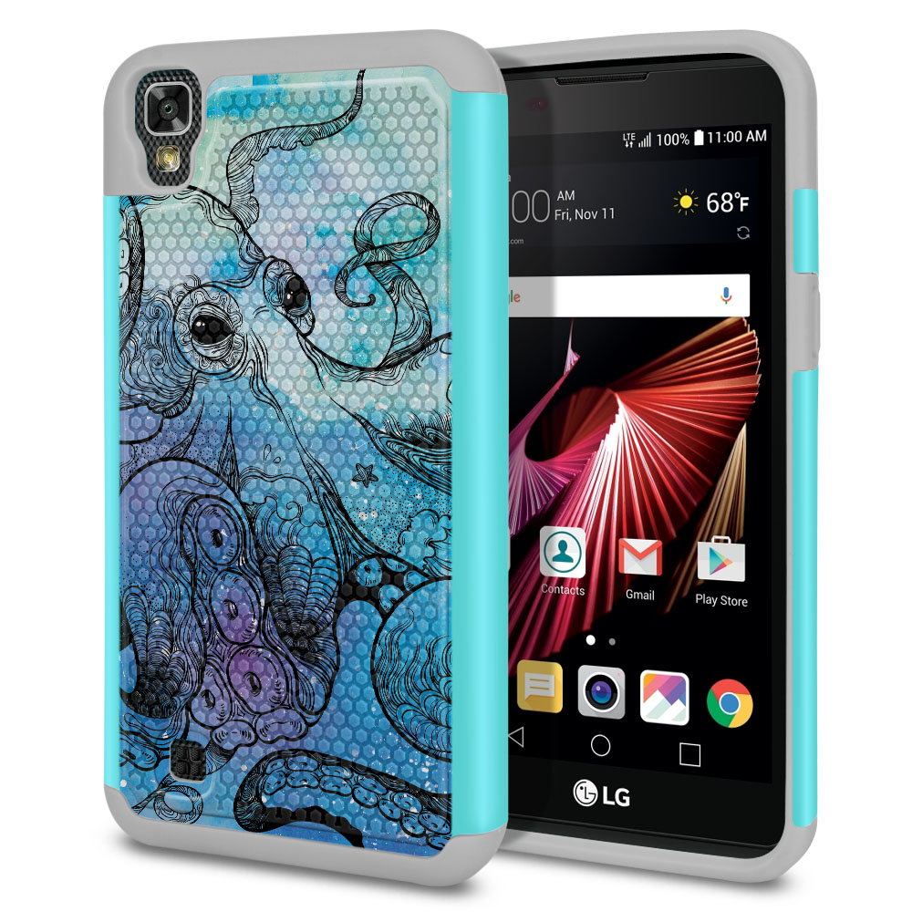 LG X Power K6 K6P-LG K450 K210 K220-LG US610-LG LS755 Hybrid Football Skin Blue Water Octopus Protector Cover Case