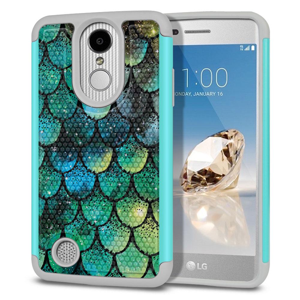 LG Aristo MS210 LV3-LG K8 (2017)-LG Phoenix 3 M150-LG Fortune Hybrid Football Skin Green Mermaid Scales Protector Cover Case