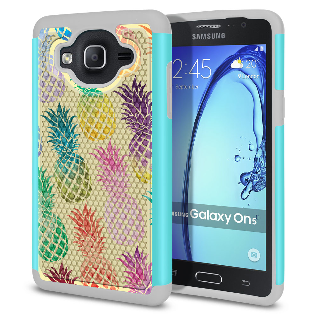 Samsung Galaxy On5 G500-Samsung Galaxy On5 G550 Hybrid Football Skin Pastel Colorful Pineapple Yellow Pastel Protector Cover Case