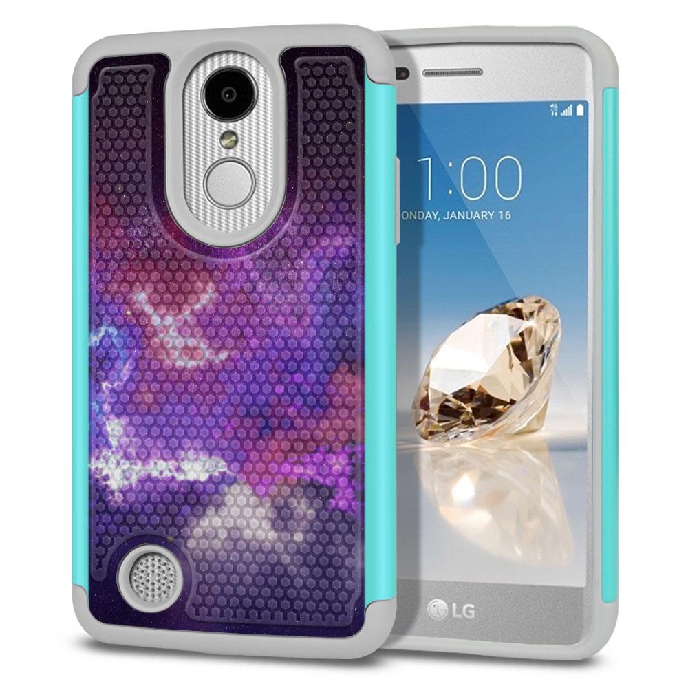 LG Aristo MS210 LV3-LG K8 (2017)-LG Phoenix 3 M150-LG Fortune Hybrid Football Skin Purple Nebula Space Protector Cover Case