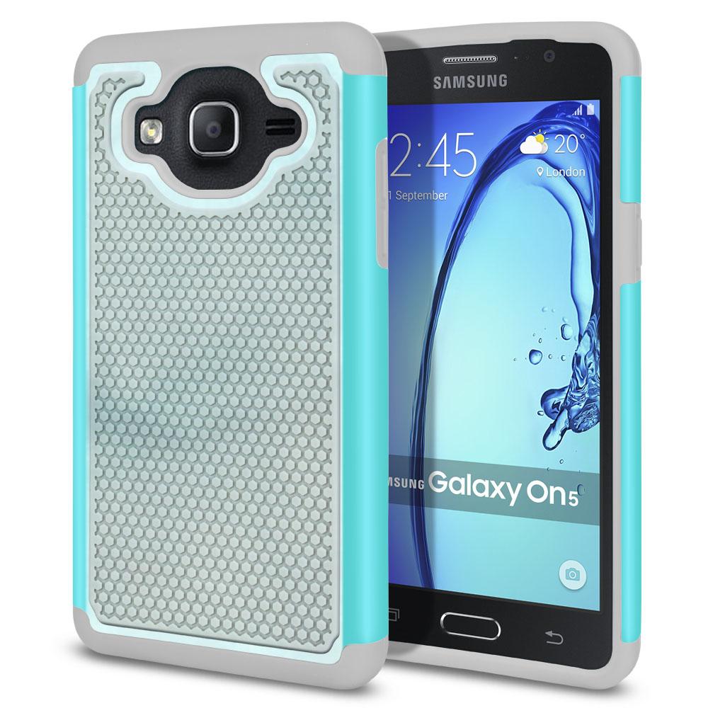 Samsung Galaxy On5 G500-Samsung Galaxy On5 G550 Hybrid Football Skin Blue Cloudy Marble Protector Cover Case