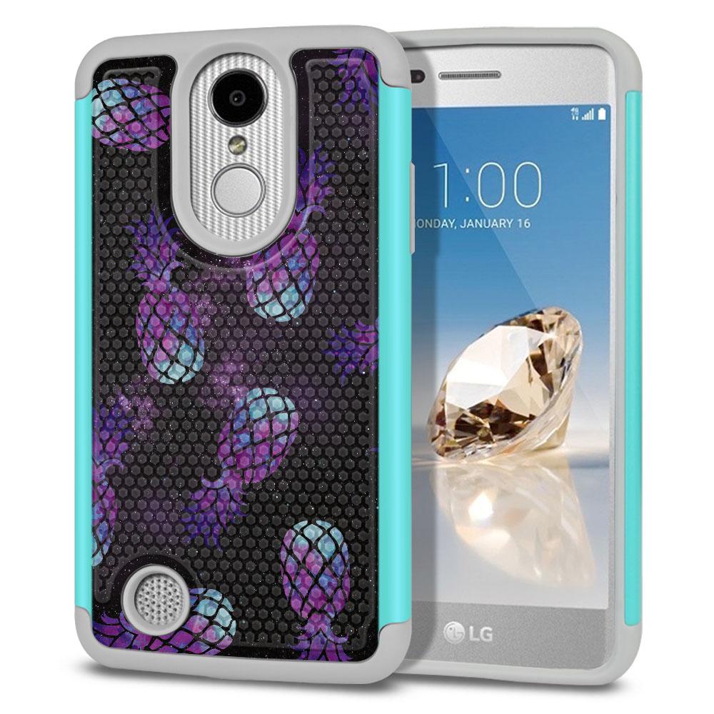 LG Aristo MS210 LV3-LG K8 (2017)-LG Phoenix 3 M150-LG Fortune Hybrid Football Skin Purple Pineapples Galaxy Protector Cover Case