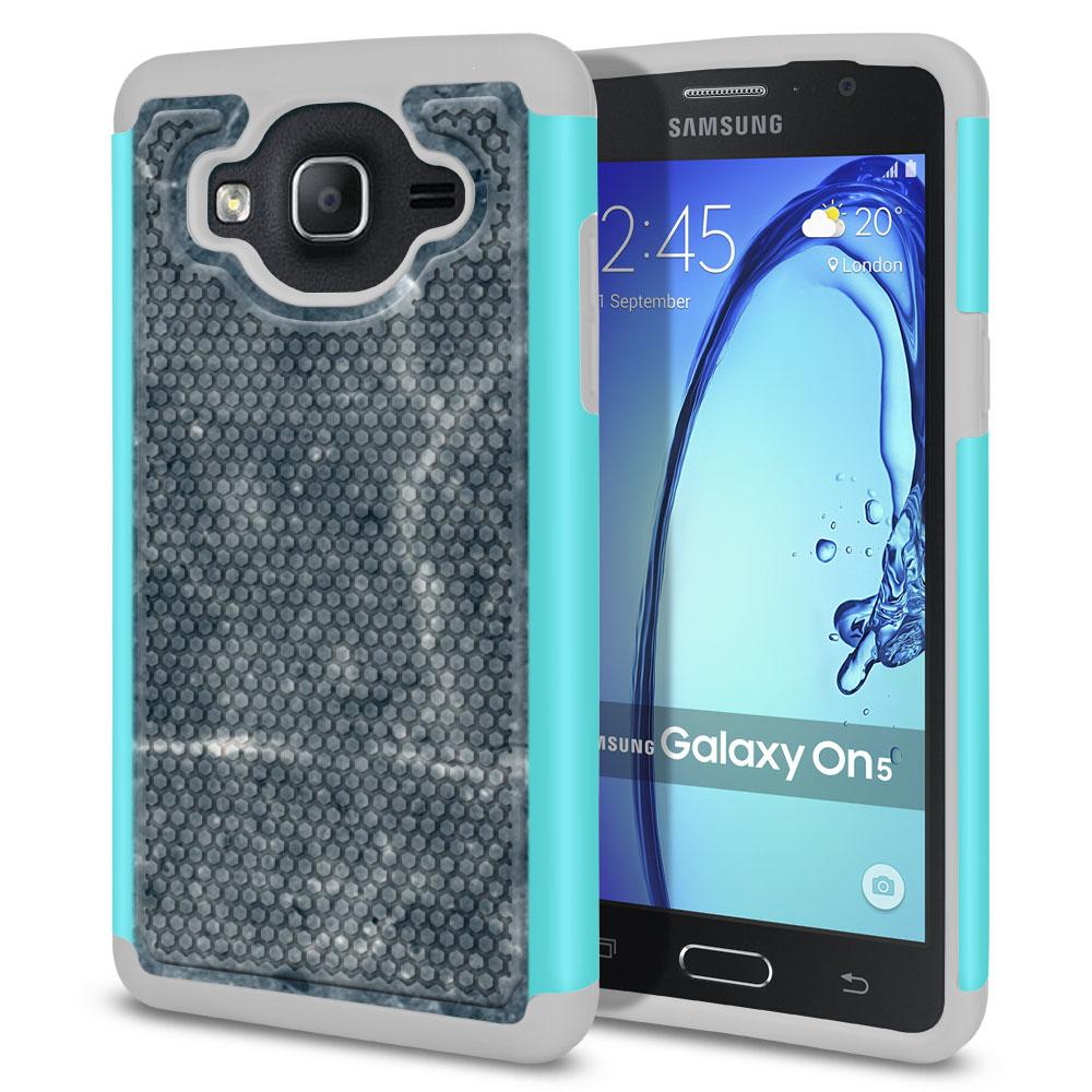 Samsung Galaxy On5 G500-Samsung Galaxy On5 G550 Hybrid Football Skin Blue Stone Marble Protector Cover Case