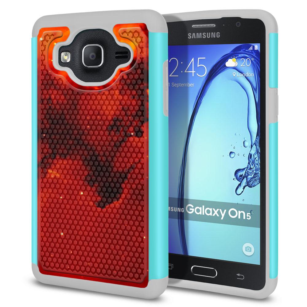 Samsung Galaxy On5 G500-Samsung Galaxy On5 G550 Hybrid Football Skin Fiery Galaxy Protector Cover Case