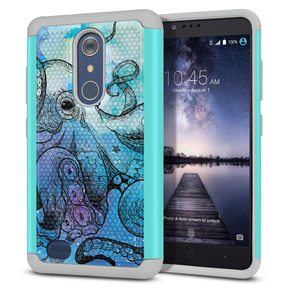 ZTE Zmax Pro Carry Z981 Hybrid Football Skin Blue Water Octopus Protector Cover Case