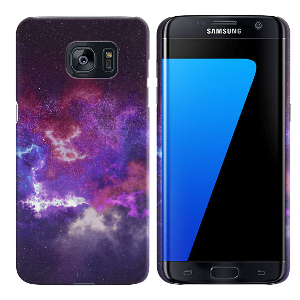 Samsung Galaxy S7 Edge G935 Purple Nebula Space Back Cover Case