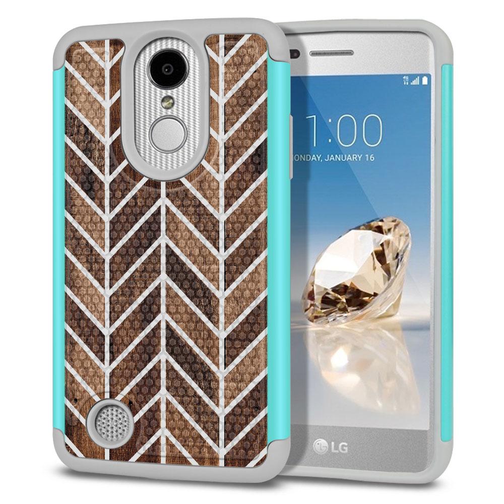 LG Aristo MS210 LV3-LG K8 (2017)-LG Phoenix 3 M150-LG Fortune Hybrid Football Skin Wood Chevron Protector Cover Case