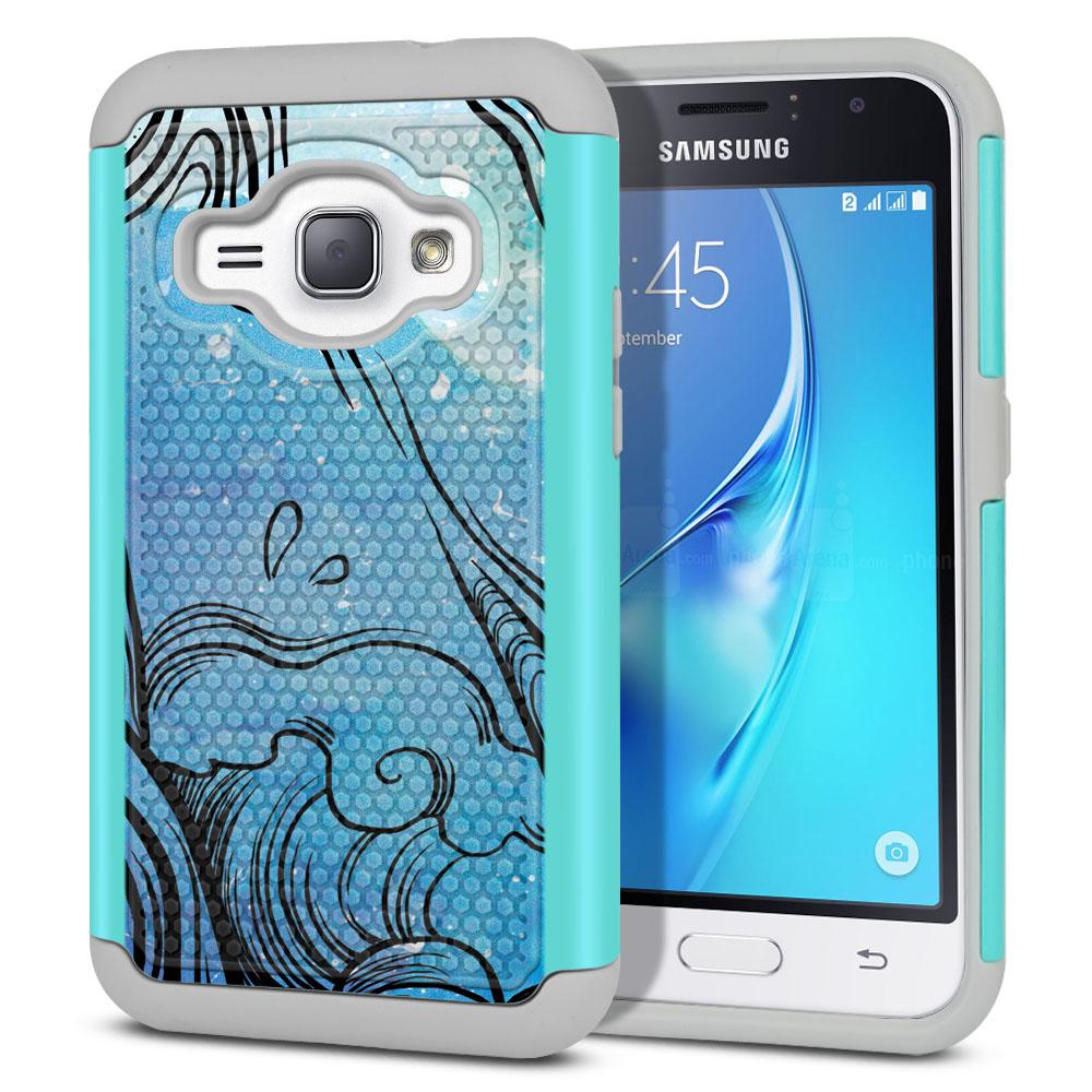 Samsung Galaxy J1 J120 2nd Gen 2016-Samsung Galaxy AMP 2 2nd Gen 2016-Samsung Galaxy Express 3-Samsung Galaxy Luna S120 Hybrid Football Skin Blue Water Octopus Protector Cover Case