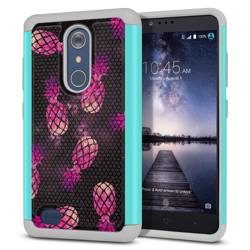 ZTE Zmax Pro Carry Z981 Hybrid Football Skin Hot Pink Pineapple Pattern In Galaxy Protector Cover Case
