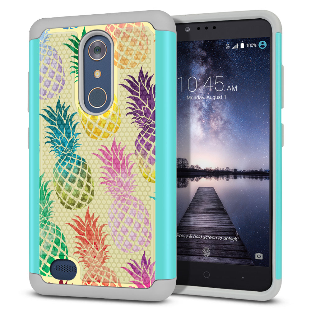 ZTE Zmax Pro Carry Z981 Hybrid Football Skin Pastel Colorful Pineapple Yellow Pastel Protector Cover Case