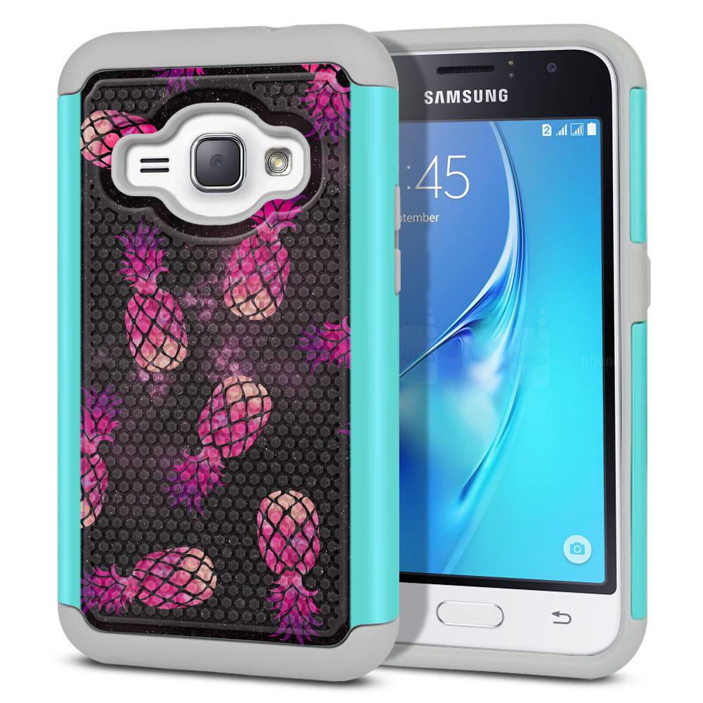 Samsung Galaxy J1 J120 2nd Gen 2016-Samsung Galaxy AMP 2 2nd Gen 2016-Samsung Galaxy Express 3-Samsung Galaxy Luna S120 Hybrid Football Skin Hot Pink Pineapple Pattern In Galaxy Protector Cover Case