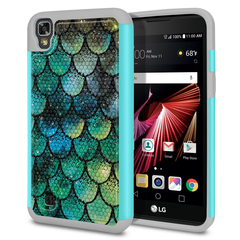 LG X Power K6 K6P-LG K450 K210 K220-LG US610-LG LS755 Texture Hybrid Green Mermaid Scales Protector Cover Case