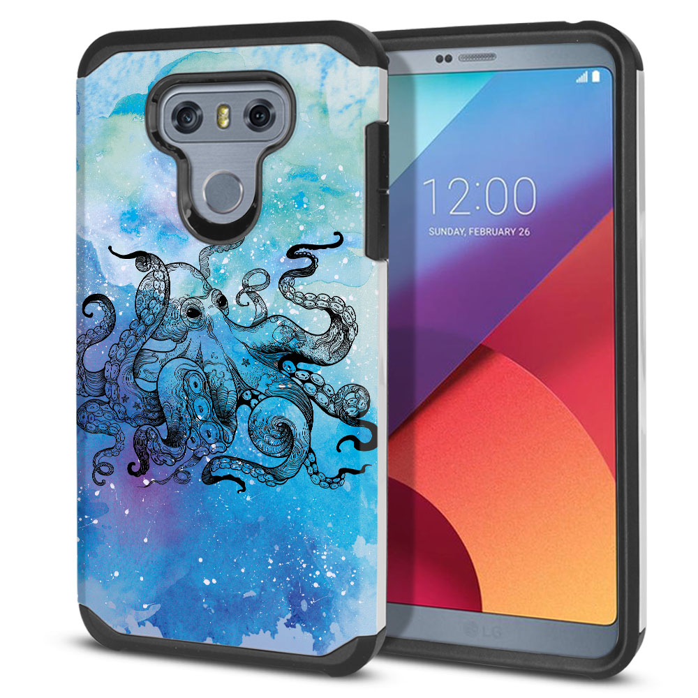 LG G6 H870-H871-H872-H873-US997-LS993-VS998-AS993-G6  Plus US997 Hybrid Slim Fusion Blue Water Octopus Protector Cover Case