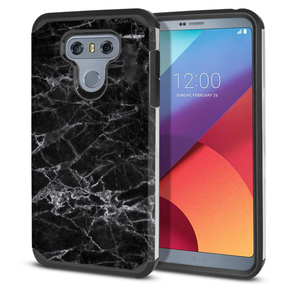 LG G6 H870-H871-H872-H873-US997-LS993-VS998-AS993-G6  Plus US997 Hybrid Slim Fusion Black Stone Marble Protector Cover Case