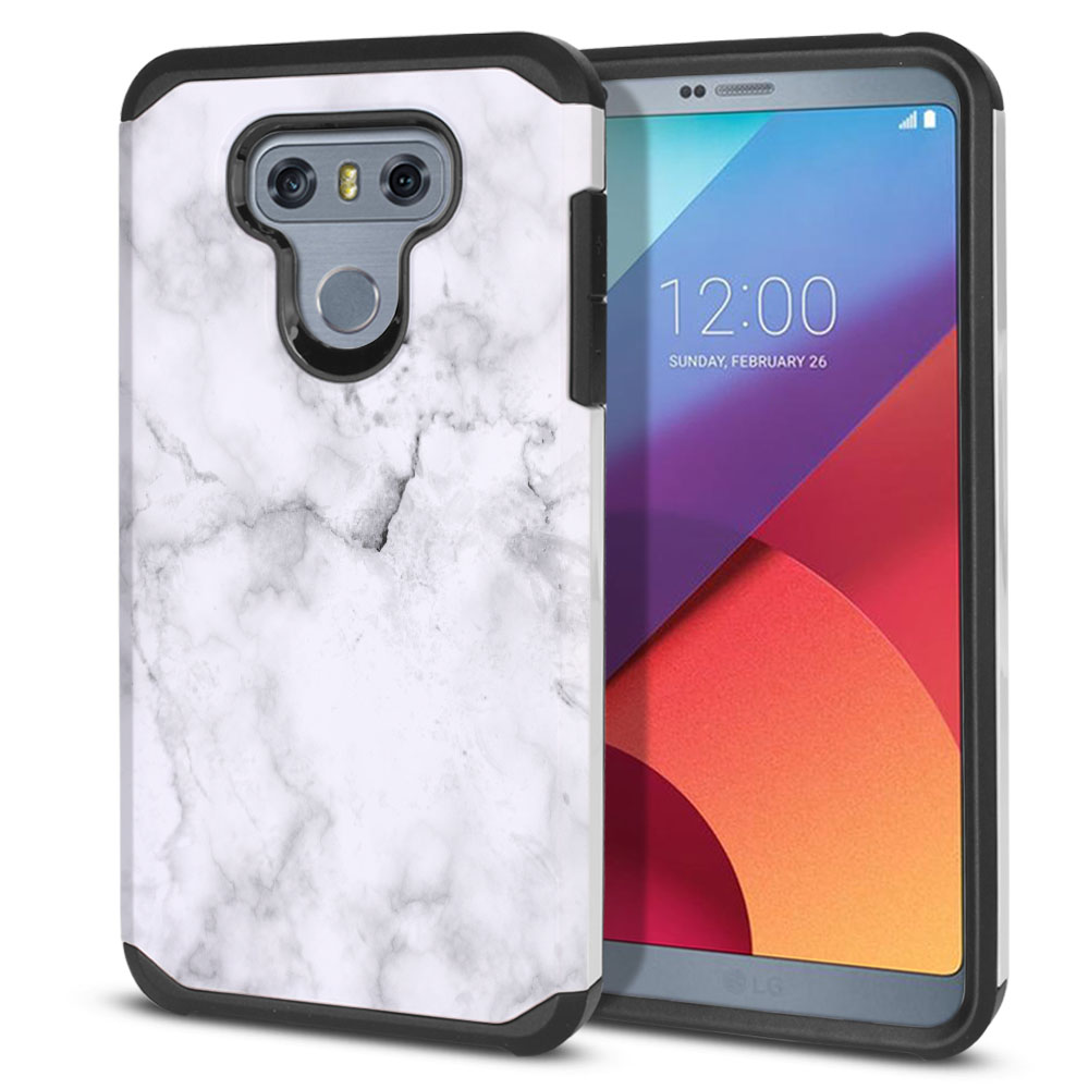 LG G6 H870-H871-H872-H873-US997-LS993-VS998-AS993-G6  Plus US997 Hybrid Slim Fusion Grey Cloudy Marble Protector Cover Case