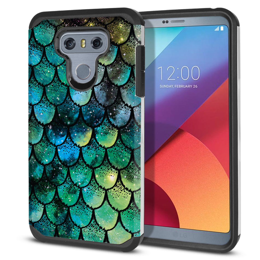 LG G6 H870-H871-H872-H873-US997-LS993-VS998-AS993-G6  Plus US997 Hybrid Slim Fusion Green Mermaid Scales Protector Cover Case