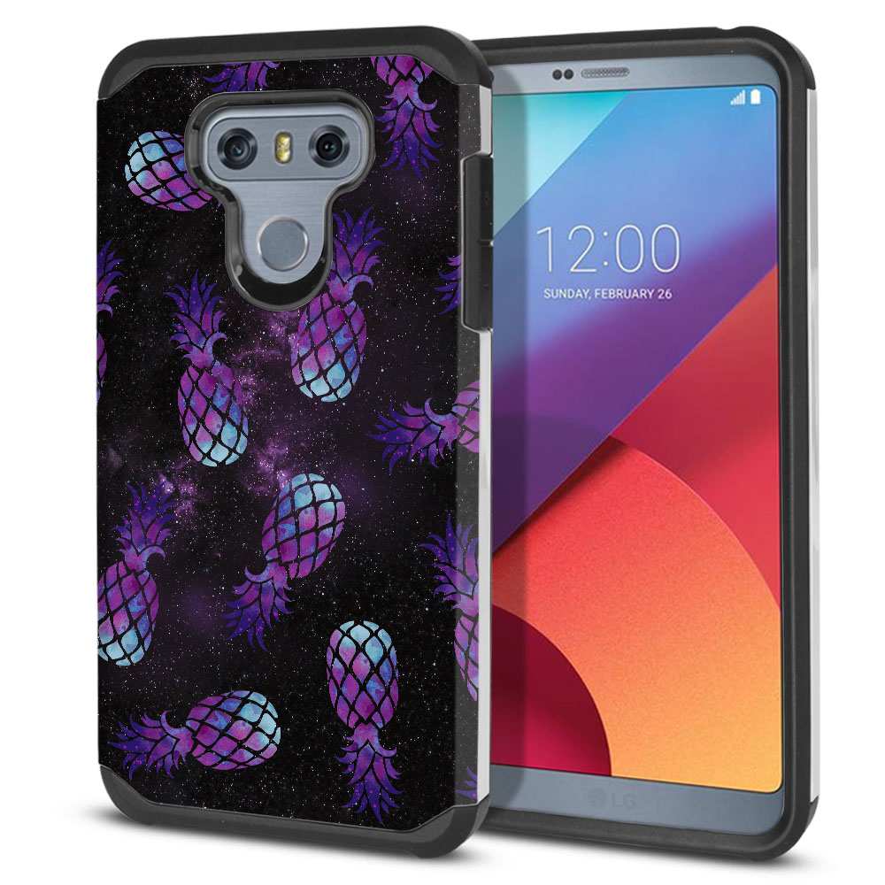 LG G6 H870-H871-H872-H873-US997-LS993-VS998-AS993-G6  Plus US997 Hybrid Slim Fusion Purple Pineapples Galaxy Protector Cover Case