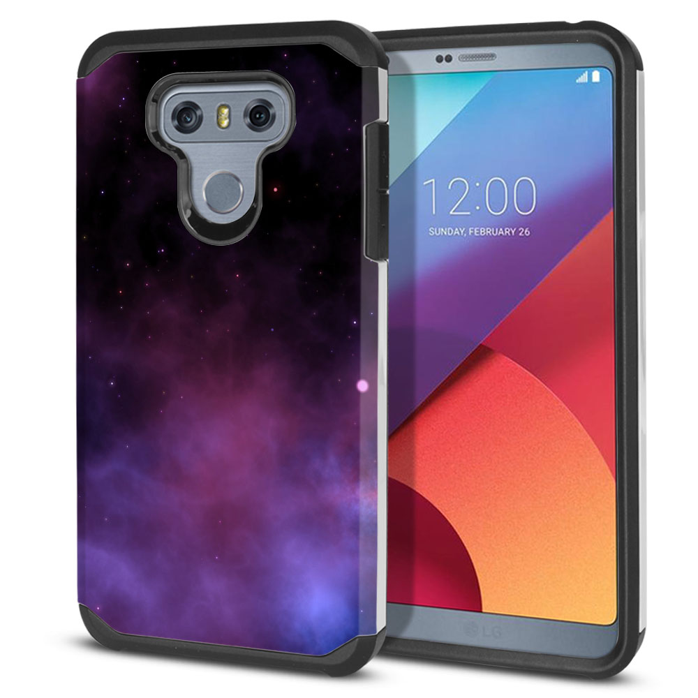 LG G6 H870-H871-H872-H873-US997-LS993-VS998-AS993-G6  Plus US997 Hybrid Slim Fusion Purple Space Stars Protector Cover Case