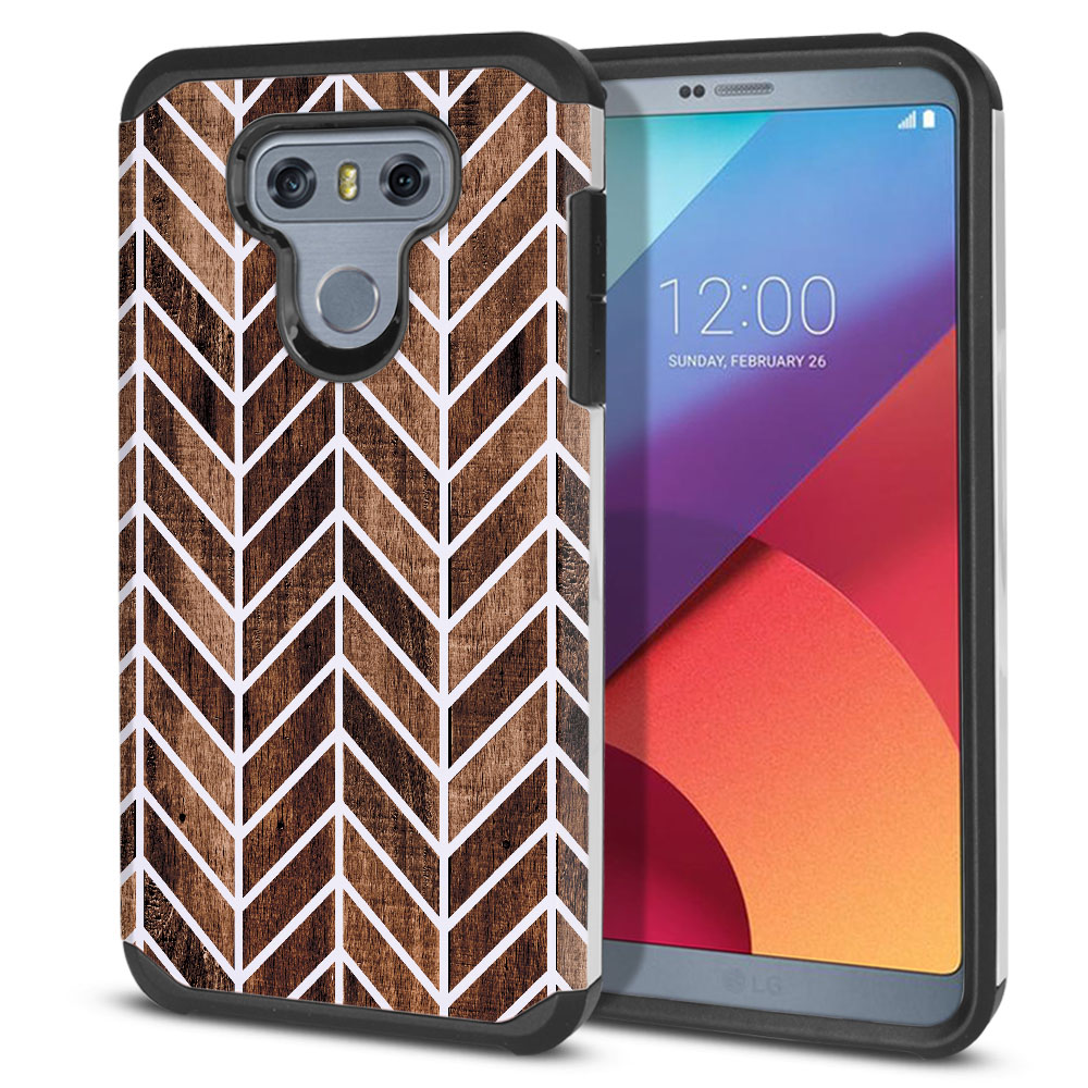 LG G6 H870-H871-H872-H873-US997-LS993-VS998-AS993-G6  Plus US997 Hybrid Slim Fusion Wood Chevron Protector Cover Case