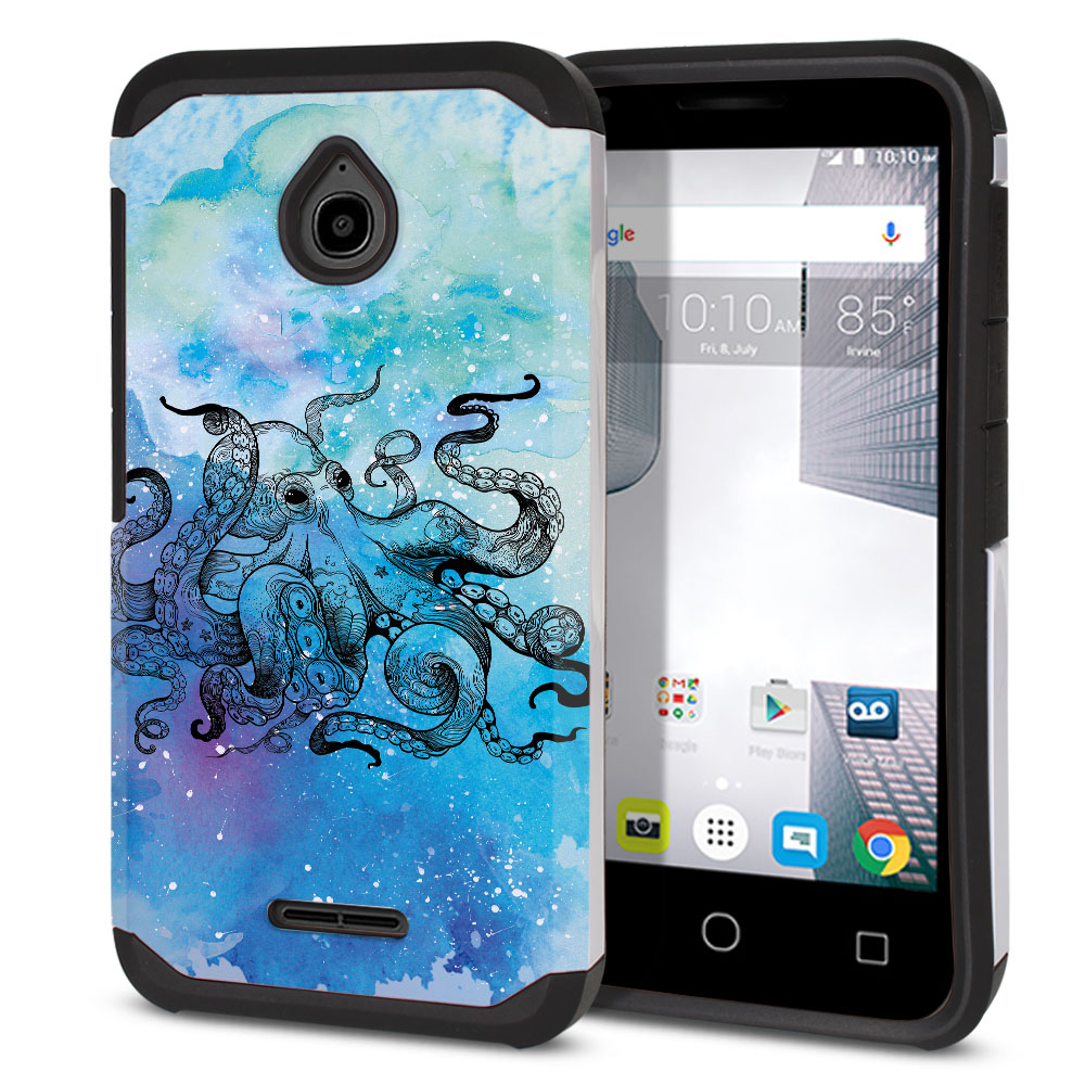 Alcatel Dawn 5027/ Acquire/ Streak/ Ideal 4060A Hybrid Slim Fusion Blue Water Octopus Protector Cover Case