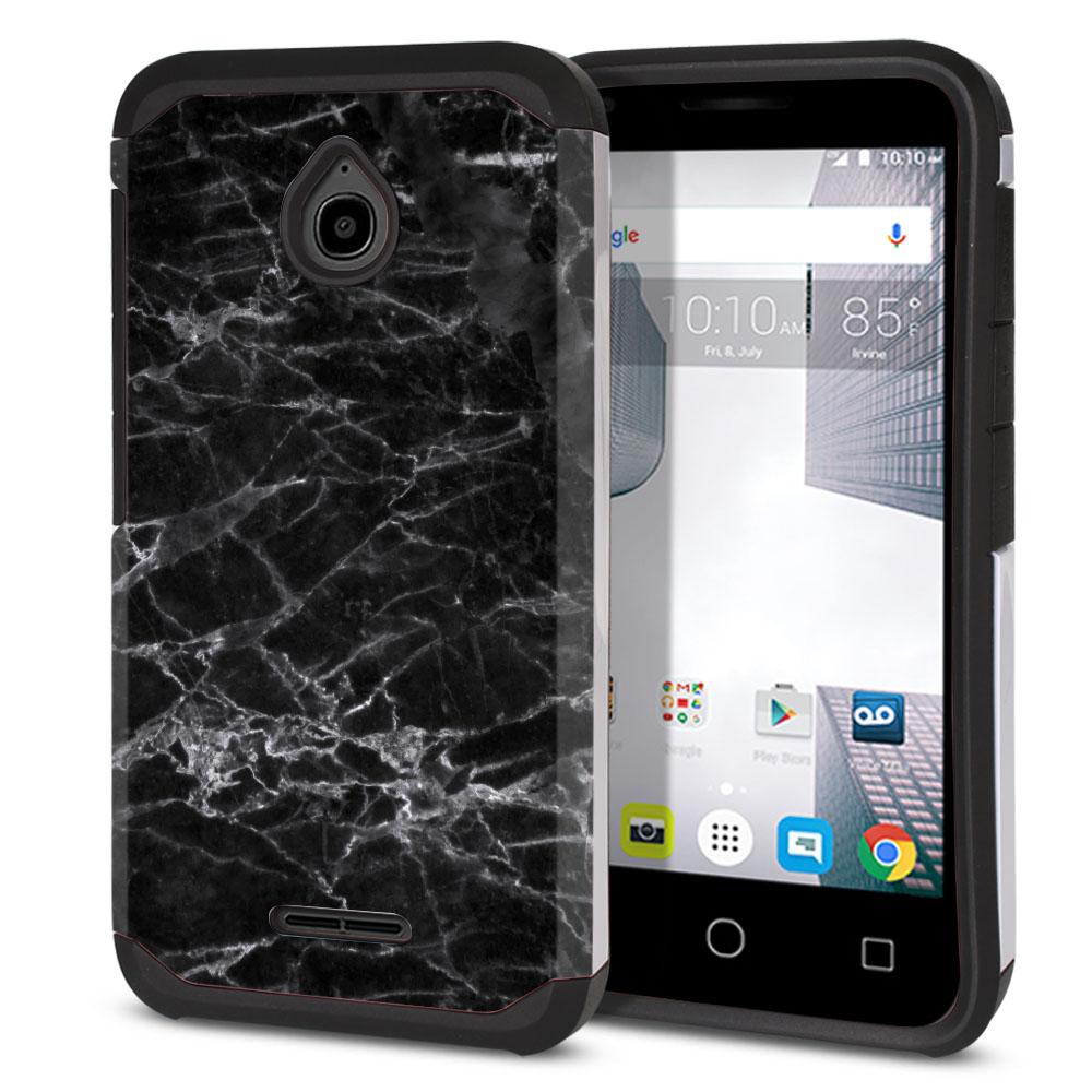 Alcatel Dawn 5027/ Acquire/ Streak/ Ideal 4060A Hybrid Slim Fusion Black Stone Marble Protector Cover Case